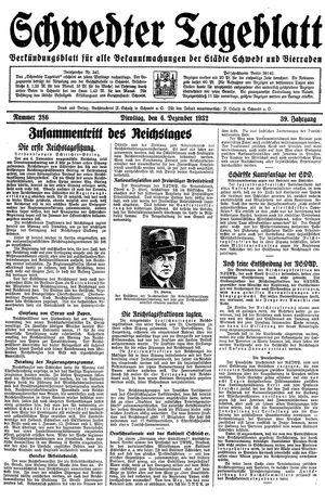 Schwedter Tageblatt vom 06.12.1932