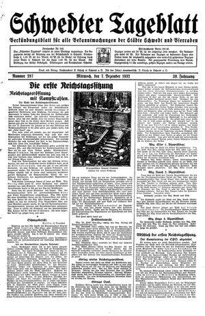 Schwedter Tageblatt vom 07.12.1932