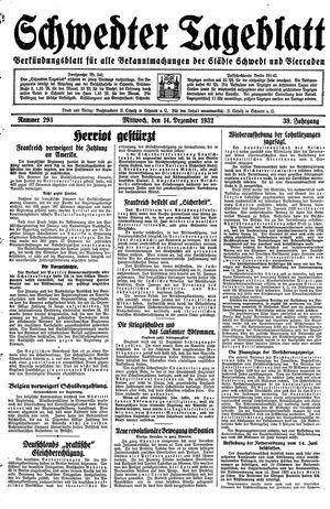 Schwedter Tageblatt vom 14.12.1932