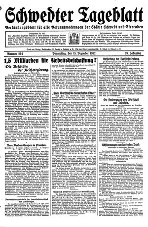 Schwedter Tageblatt vom 15.12.1932