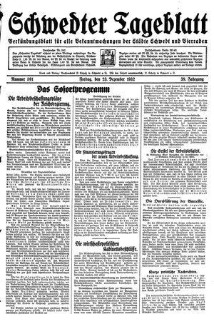 Schwedter Tageblatt vom 23.12.1932