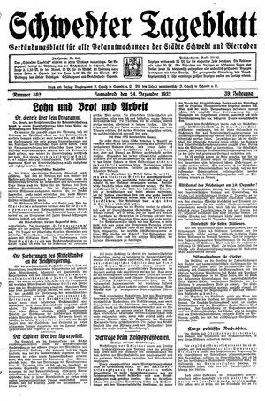 Schwedter Tageblatt vom 24.12.1932