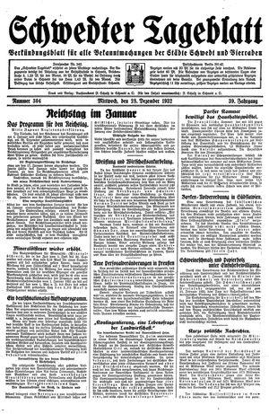Schwedter Tageblatt vom 28.12.1932