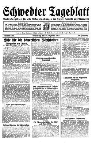 Schwedter Tageblatt vom 29.12.1932