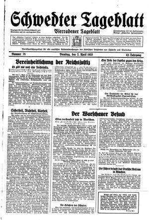 Schwedter Tageblatt vom 02.04.1935