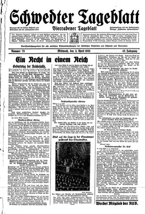 Schwedter Tageblatt vom 03.04.1935
