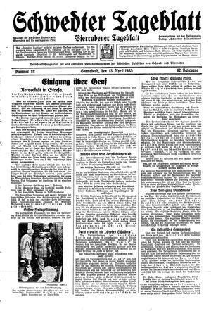 Schwedter Tageblatt vom 13.04.1935