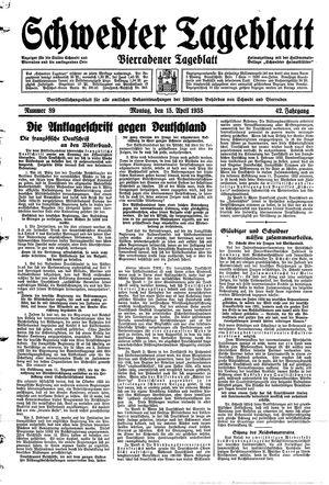 Schwedter Tageblatt vom 15.04.1935