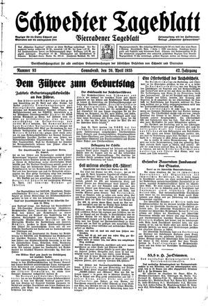 Schwedter Tageblatt vom 20.04.1935