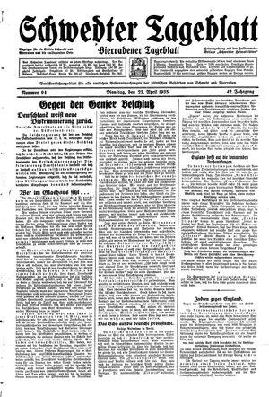 Schwedter Tageblatt vom 23.04.1935