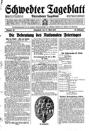 Schwedter Tageblatt vom 27.04.1935