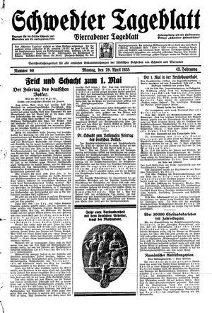 Schwedter Tageblatt vom 29.04.1935