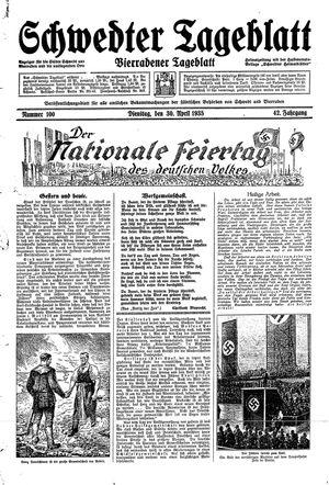 Schwedter Tageblatt vom 30.04.1935