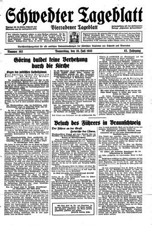 Schwedter Tageblatt vom 18.07.1935