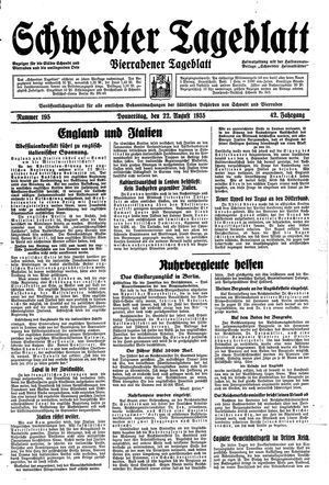 Schwedter Tageblatt vom 22.08.1935