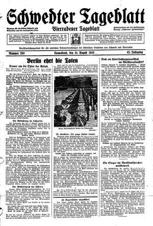 Schwedter Tageblatt vom 31.08.1935