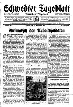 Schwedter Tageblatt vom 13.09.1935