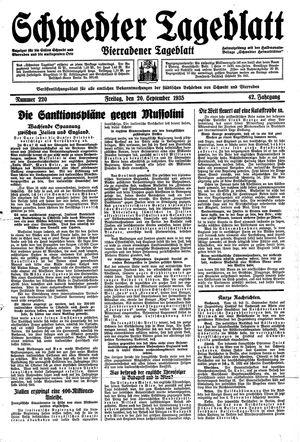 Schwedter Tageblatt on Sep 20, 1935