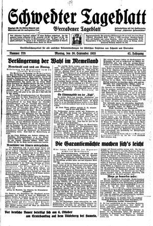 Schwedter Tageblatt vom 30.09.1935