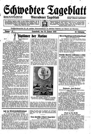 Schwedter Tageblatt vom 22.01.1938