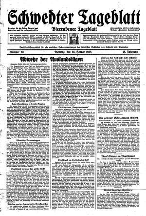 Schwedter Tageblatt vom 25.01.1938