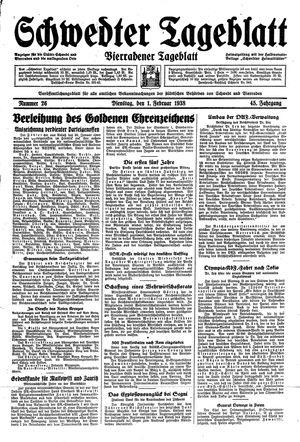 Schwedter Tageblatt vom 01.02.1938