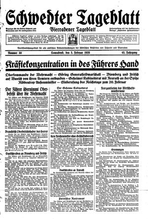 Schwedter Tageblatt vom 05.02.1938