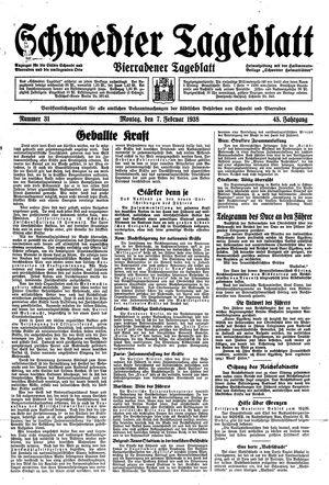 Schwedter Tageblatt vom 07.02.1938