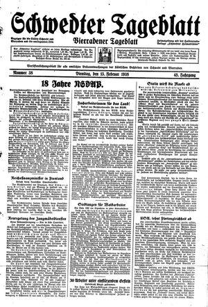 Schwedter Tageblatt vom 15.02.1938