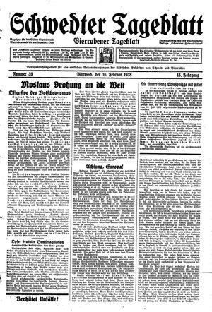 Schwedter Tageblatt vom 16.02.1938
