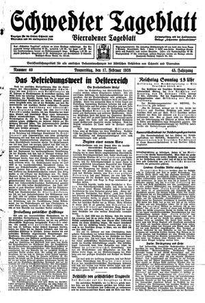 Schwedter Tageblatt vom 17.02.1938