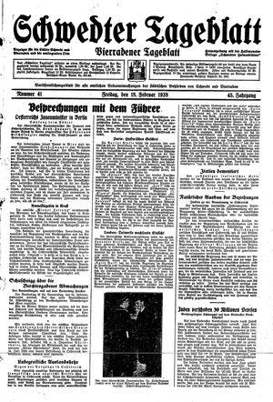 Schwedter Tageblatt vom 18.02.1938