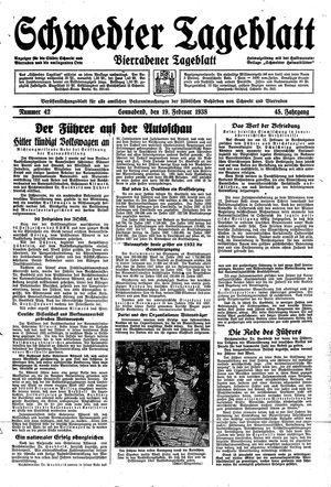 Schwedter Tageblatt vom 19.02.1938