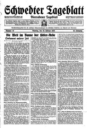 Schwedter Tageblatt vom 22.02.1938