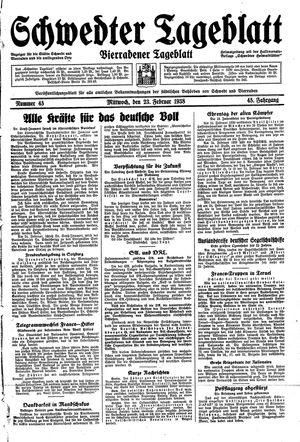 Schwedter Tageblatt vom 23.02.1938