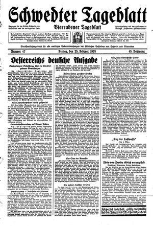 Schwedter Tageblatt vom 25.02.1938