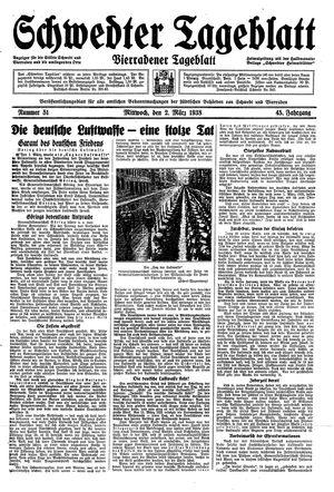 Schwedter Tageblatt vom 02.03.1938