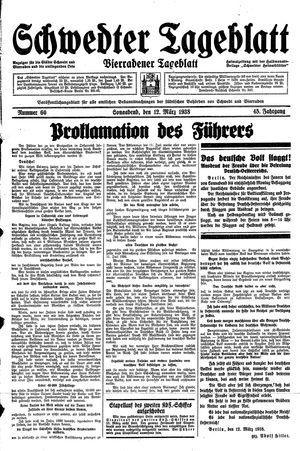 Schwedter Tageblatt on Mar 12, 1938