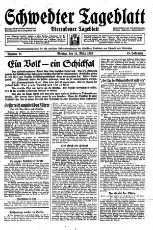 Schwedter Tageblatt vom 14.03.1938