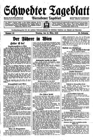 Schwedter Tageblatt vom 15.03.1938