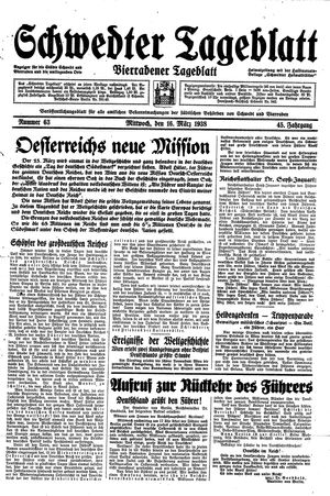 Schwedter Tageblatt on Mar 16, 1938