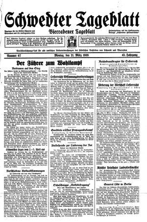 Schwedter Tageblatt vom 21.03.1938
