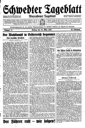 Schwedter Tageblatt vom 25.03.1938