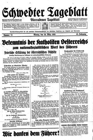 Schwedter Tageblatt vom 28.03.1938