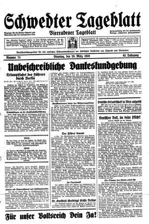 Schwedter Tageblatt vom 29.03.1938