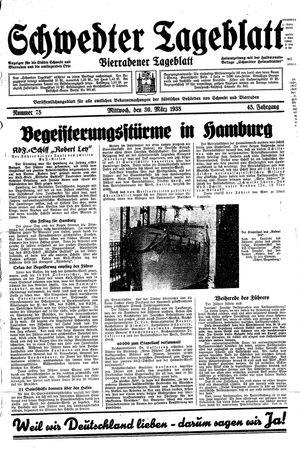 Schwedter Tageblatt vom 30.03.1938