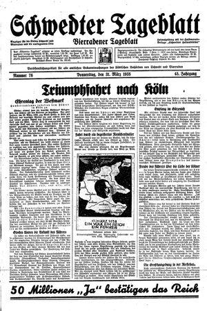Schwedter Tageblatt vom 31.03.1938