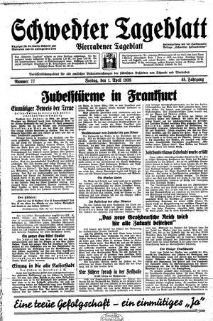 Schwedter Tageblatt vom 01.04.1938
