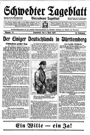 Schwedter Tageblatt on Apr 2, 1938