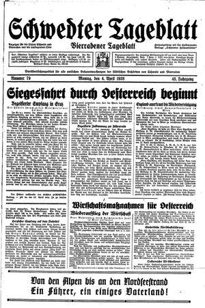 Schwedter Tageblatt vom 04.04.1938